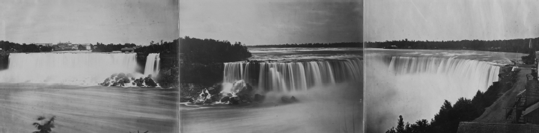 Panorama of Niagara Falls, author unknown, after 1873. Albumen silver print, 32.4 x 129.9 cm. Digital image courtesy of the Getty's Open Content Program (object number: 85.XP.13.1).