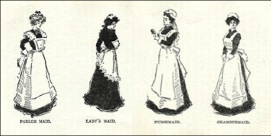 Aprons were strictly codified in terms of hierarchy. Left to right: parlour maid, lady's maid, nursemaid, and the humble chambermaid.