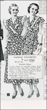 The Hooverette apron of 1935. The narrow cut saved fabric, and the reversible front could be retied to reveal a clean section underneath.