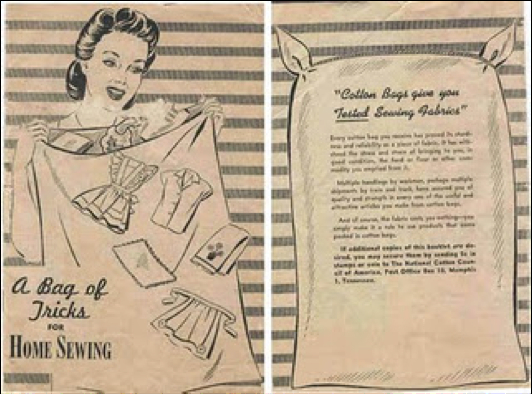 Leaflet promoting the many garments (including aprons) that can be made from feedbags. The imperative to reuse feedbags was based on the shortage of fabrics due to factory conversions to take up military production.