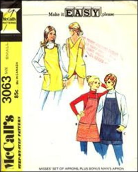 "Unisex apron styles appeared in the 1970s, with the tag line ""Make it EASY please."""