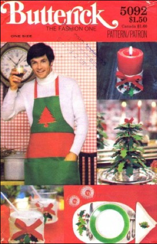 Quickly glued-on felt decorations adorn this 1970s men's apron. Side note: The man in the photo resembles the culinary television personality of the day, The Galloping Gourmet (1969-71). The Ottawa-produced show was named for chef Graham Kerr's onscreen persona.