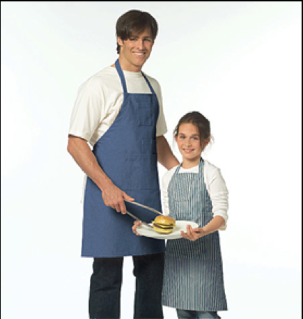 Father and daughter matching aprons make an appearance as the number of single-parent families became a greater part of the modern demographic. The chef-style apron is unisex, in comparison to earlier mother-daughter aprons that were always feminine in style.26