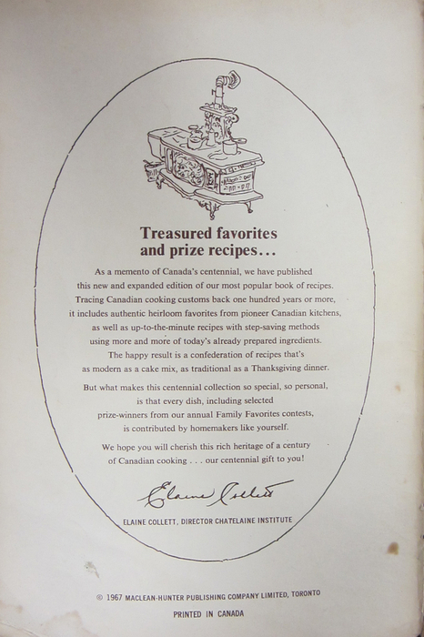 Chatelaine Centennial Collection of Home-Tested Recipes ― p.1.
