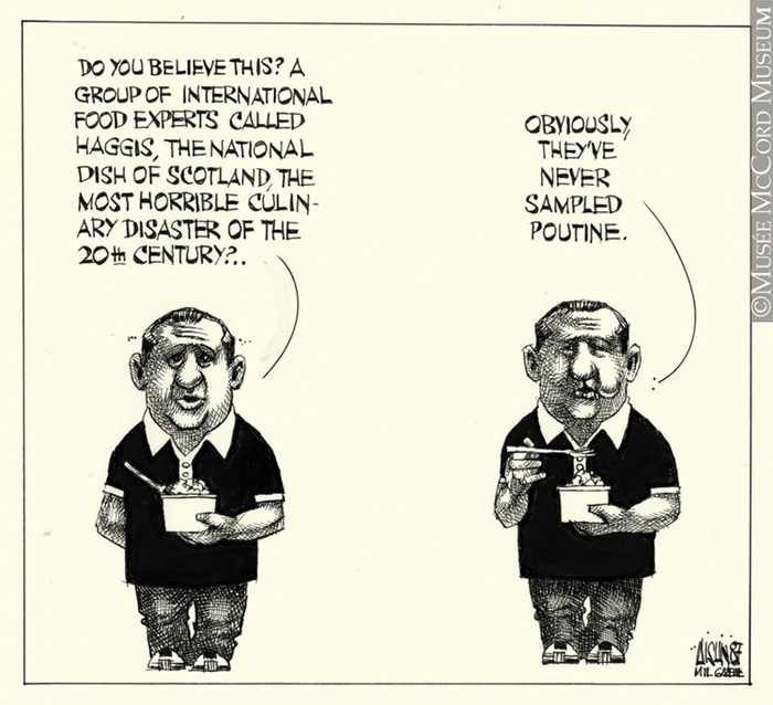 Published in 1987, this caricature renders how poutine was negatively perceived at the time, which is in drastic contrast with the current hyped status of the dish.