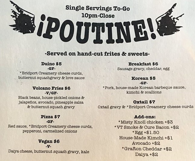 The poutine menu of ¡Duino! (Duende), a snack-bar located in Burlington, Vermont, United States.