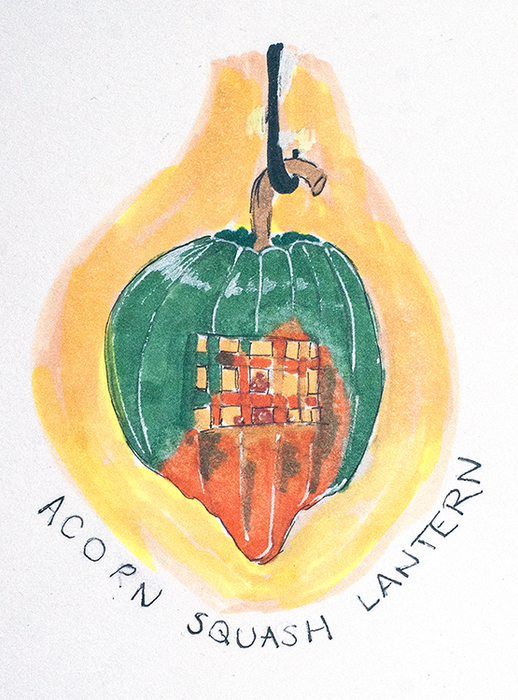 Acorn Squash Lantern: autumn harvest: Joanna Turner, Winnipeg, October 2016.