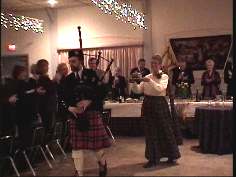 The haggis is piped into the hall at the start of the ceremony and out again at the end.