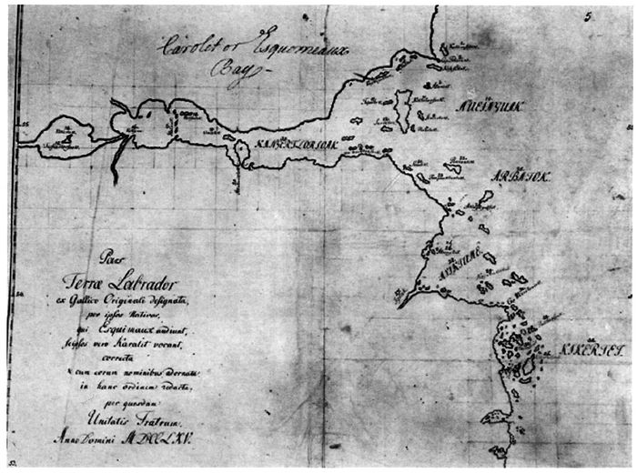 Moravian map of 1765 showing Inuit toponyms for coastline between Hamilton Inlet and Hawke Bay (from Lysaght 1971: Figure 41).