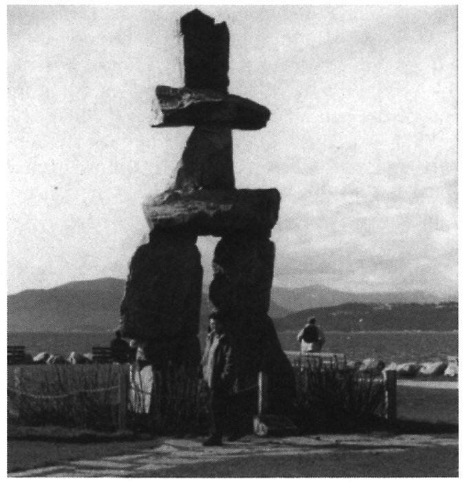 Inuksuk as a tourist attraction along a section of Stanley Park, Vancouver.