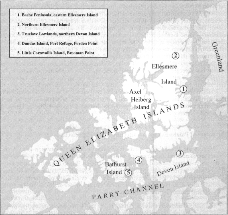 Map of High Arctic Canada, showing areas of concentrated archaeological research