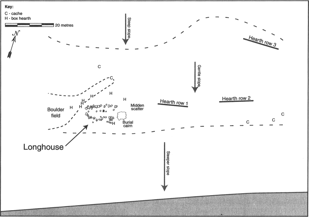 Site map of the eastern portion of the Brooman Point site (QiLd-1)