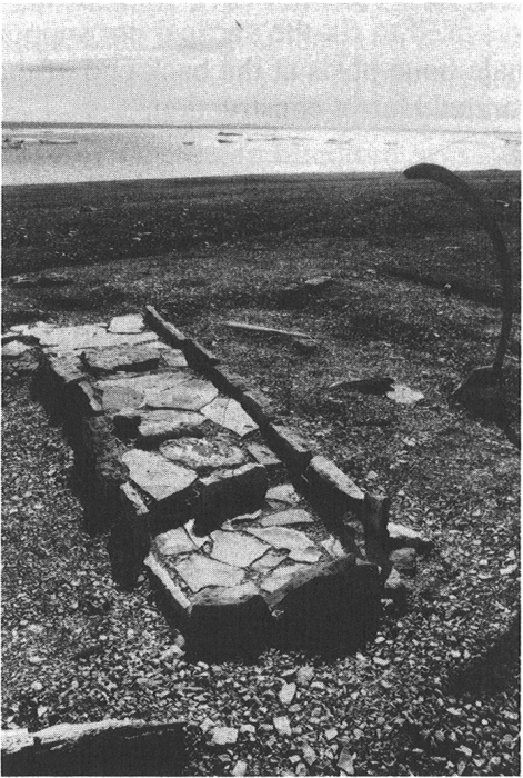 Feature 49 after reconstruction, showing the possible location of a whale bone upright