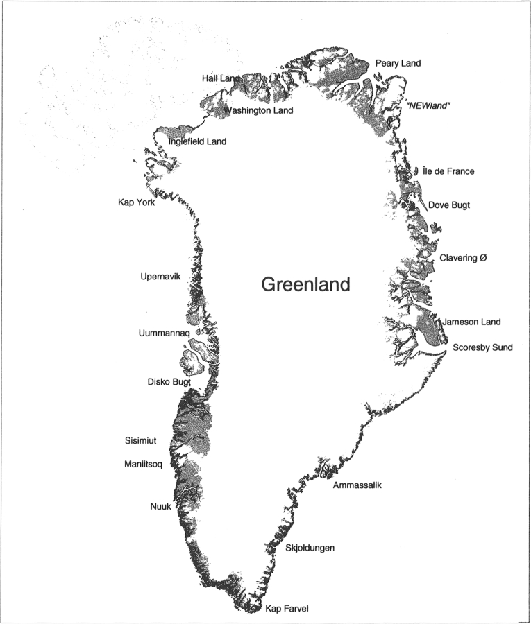 Map of Greenland with important names mentioned in the text