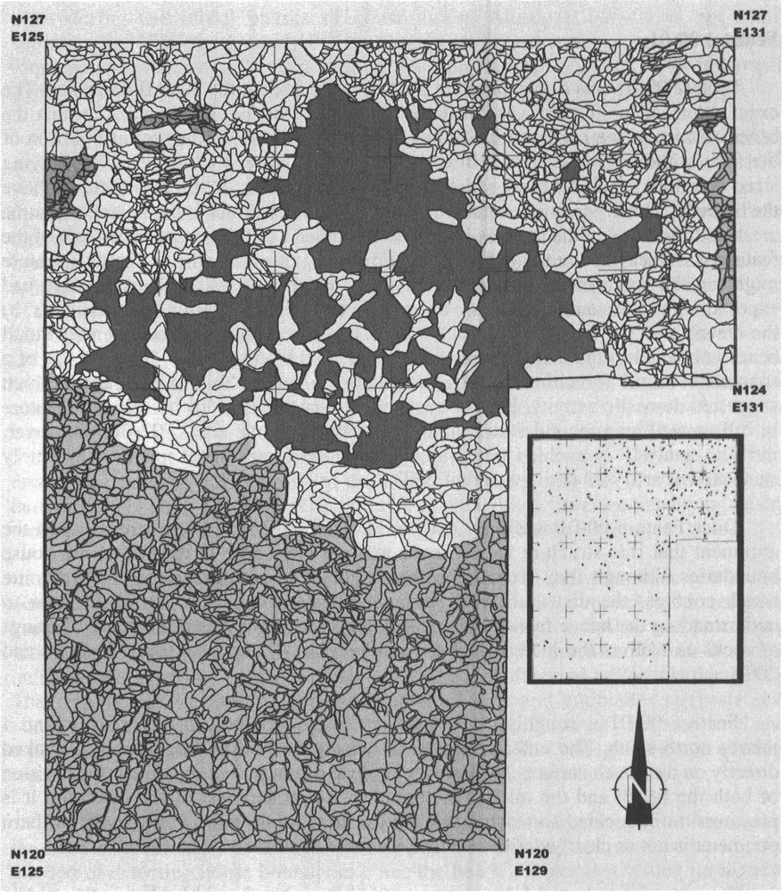 Plan drawing of F00-01 and associated artifacts at the end of the 2001 field season. Dark grey area shows where rocks and gravel were removed to form the inside of the dwelling. Inset shows distribution of artifacts from 2000 and 2001 excavations.