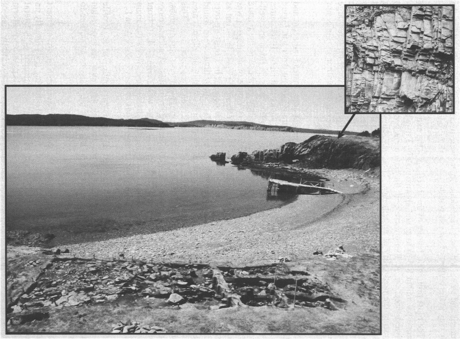 View of Barry's Cove showing location of House 2 and flagstone rock outcrop