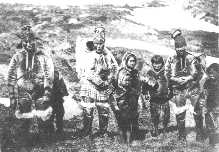 Three mothers, probably Akitukujooq, Louise and Qivi in East Greenland in 1908. (photo by Johan Petersen, no. AI 30.201 [= 43.41], Danish Polar Center, Copenhagen).
