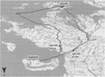 Two routes between Igloolik and Saglarjuk mapped by the author with a GPS in 2001. Dots represent places for which Inuktitut names were recorded.