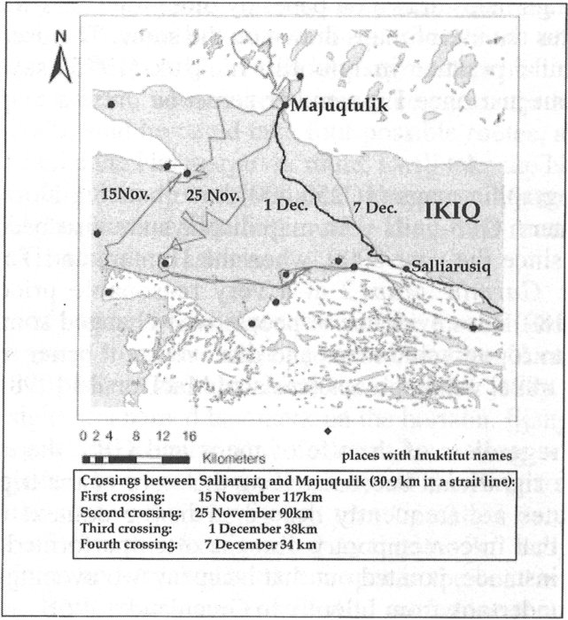Four crossings across Ikiq during November and December of 2000. Dots refer to Inuktitut place names known to Igloolik hunters.