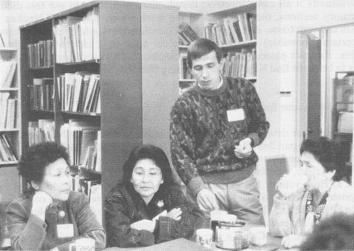 Left to right: Naukan ladies Nina Enmenkau, Nadezhda Sudakova (who much later, as a resident of Nome, was instrumental in sending the Naukan dictionary copies to Chukotka), and Valentina Sirikova-Kagaaq with linguist Evgeniy Golovko in the archive/library of the Alaska Native Language Center Fairbanks in 1990, well before work on the dictionary actually began.