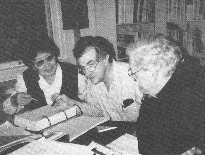Left to right: Elizaveta Dobrieva, Steven Jacobson and Michael Krauss working on the Naukan dictionary in Fairbanks in 1999.