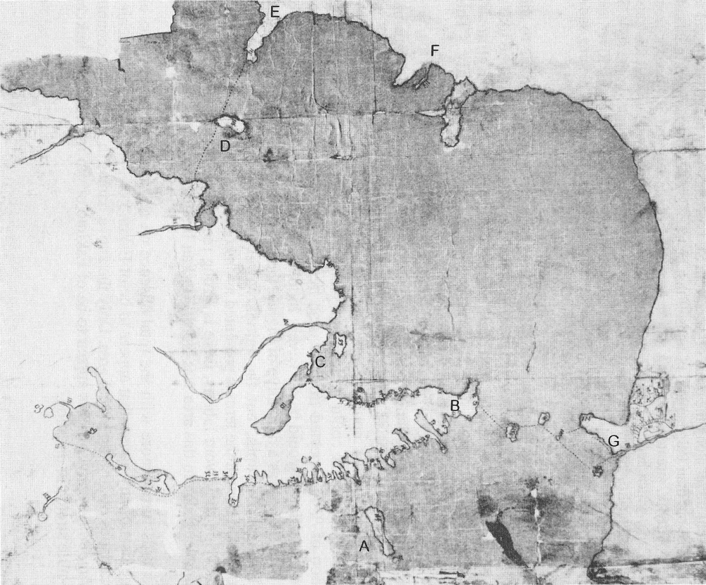 Nikolai Daurkin's 1765 map of Chukotka and part of Alaska showing both Bering Strait and northern (Wrangel Is., Pt. Hope) connections.