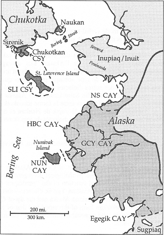 Location of languages and dialects mentioned in the text (CAY = Central Alaskan Yup'ik; CSY = Central Siberian Yupik; GCY = General Central Yup'ik; HBC = Hooper Bay / Chevak; NS = Norton Sound; NUN = Nunivak; SLI = St. Lawrence Island).