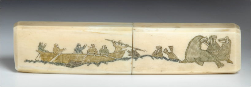 School pencil-box on a walrus tusk with engraving by Khukhutan,1930s.