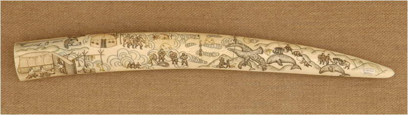 "Walrus tusk engraving of the Chukchi tale ""Man the Sun"" by Emkul', 1956."