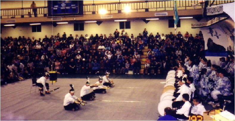 Kalukaq (Box Drummer) and four dancers, Barrow, February 2003.