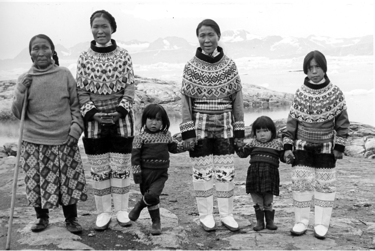 Elisa Sivertsen, her daughters Thomasine and Melina, and her granddaughters after leaving the church on Sunday. They asked Gerti Nooter to photograph them because they looked beautiful in their Sunday best, Diilerilaaq, 1967. Photo: G. Nooter, Museon 67-03-58-26.