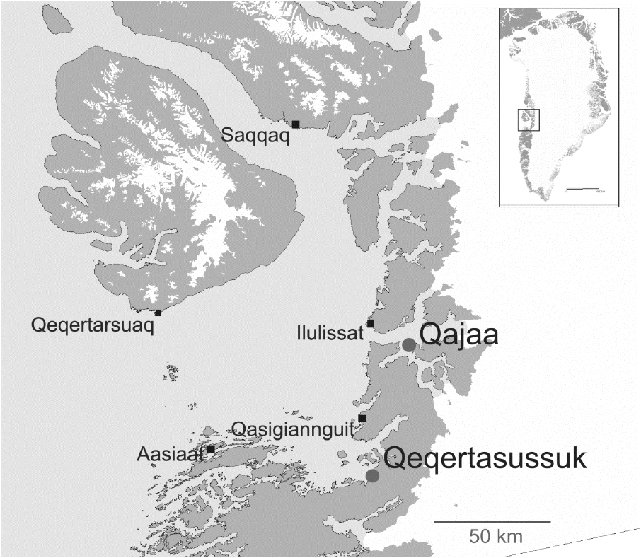 Map showing locations of the two frozen Saqqaq sites in Disko Bay (West Greenland), Qajaa and Qeqertasussuk