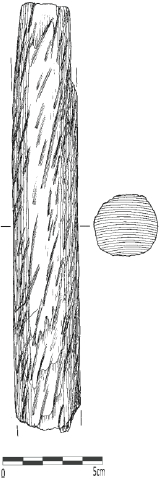 Fragmented shaft (length: 216 mm) decorated (?) with spiral pattern, Qeqertasussuk (drawing: Eva Koch Nielsen). Scale: 5 cm