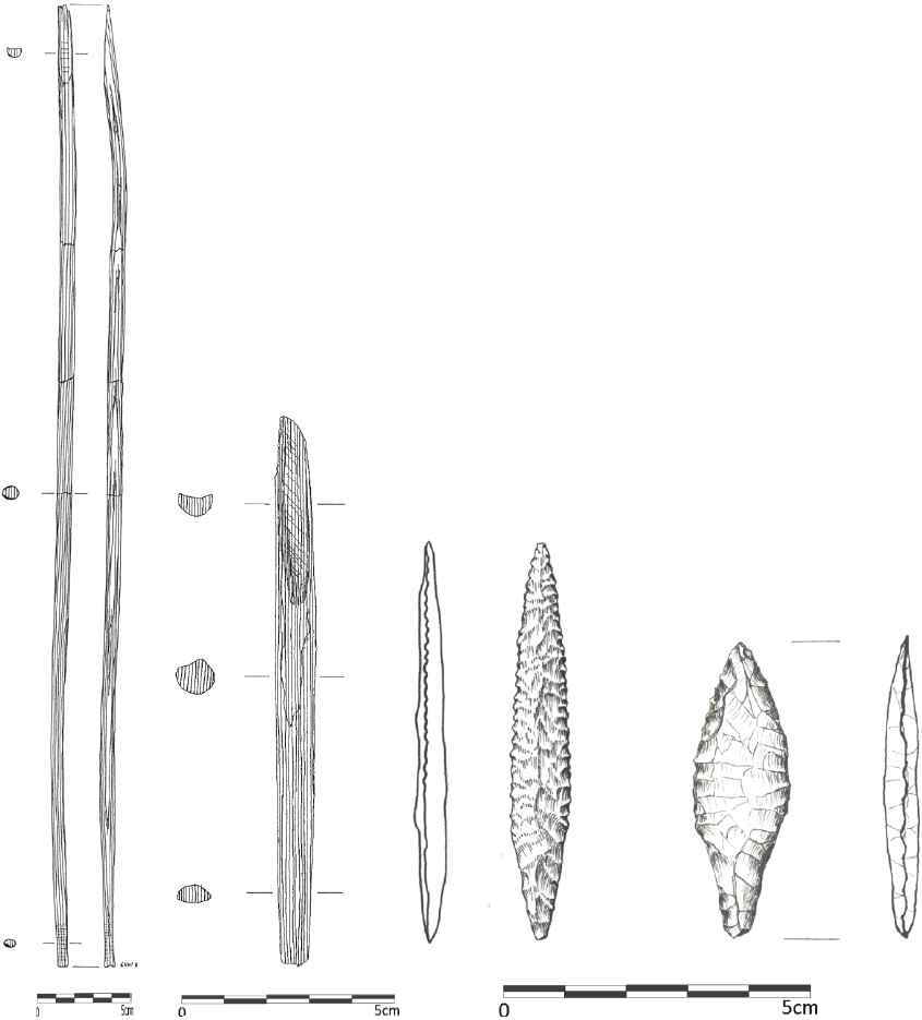 From left to right: a) Proximal arrow shaft component with notch (length: 625 mm) and bevelled distal end, Qeqertasussuk (drawing: Eva Koch Nielsen); b) Arrow foreshaft (length: 128 mm) with blade bed and bevelled proximal end, Qeqertasussuk (drawing: Eva Koch Nielsen); c) Bifacial arrowheads made from killiaq, left: slender type (length: 51 mm), right: broad type (length: 51 mm), Qeqertasussuk (drawings: Lars Holten and Bjarne Grønnow). Scales: 5 cm