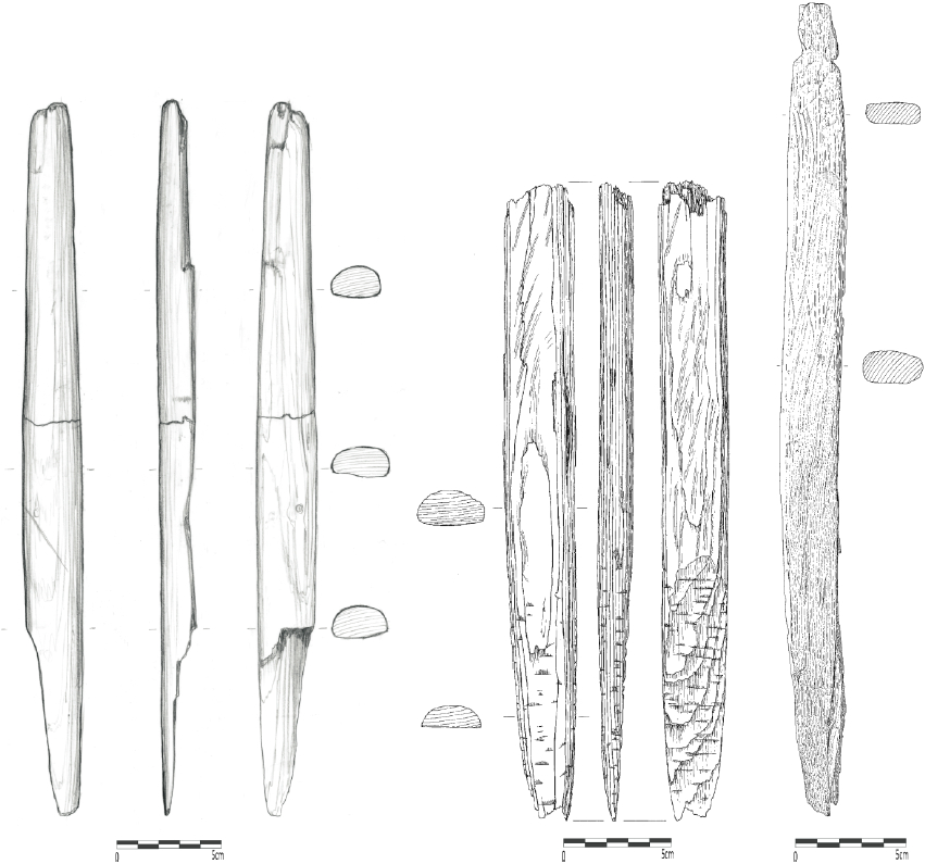From left to right: a) Fragmented distal end of bow limb (length: 357 mm), Qeqertasussuk (drawing: Bjarne Grønnow); b) Bow limb fragment with bevelled end for scarf joint (length: 306 mm), Qeqertasussuk (drawing: Eva Koch Nielsen); c) Bow limb with distal notches (length: 374 mm), Qajaa (drawing: Pia Breinholt). Scales: 5 cm