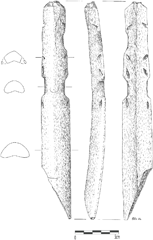 Fragmented and reworked bow grip (?) made from whale bone (length: 258 mm), Qeqertasussuk (drawing: Eva Koch Nielsen). Scale: 5 cm