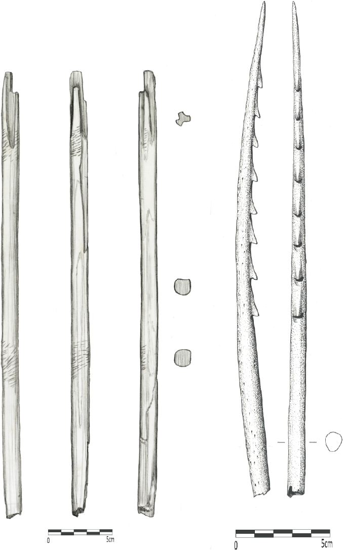From left to right: a) Distal end fragment of shaft for three-pronged bird dart (length: 356 mm), Qeqertasussuk (drawing: Bjarne Grønnow); b) End prong made from whale bone for bird dart (length: 270 mm), Qeqertasussuk (drawing: Lars Holten). Scales: 5 cm