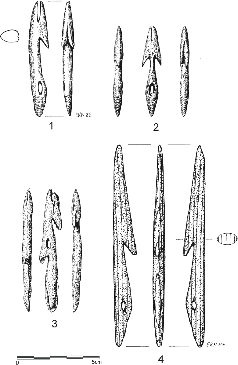 Tanged harpoon heads from Qeqertasussuk: 1) Type Qt-B (length: 68 mm); 2) Type Qt-C (length: 53 mm); 3) Type Qt-D (length: 78 mm); 4) Type Qt-B harpoon head made from driftwood (length: 124 mm) (drawings: Lars Holten and Eva Koch Nielsen)
