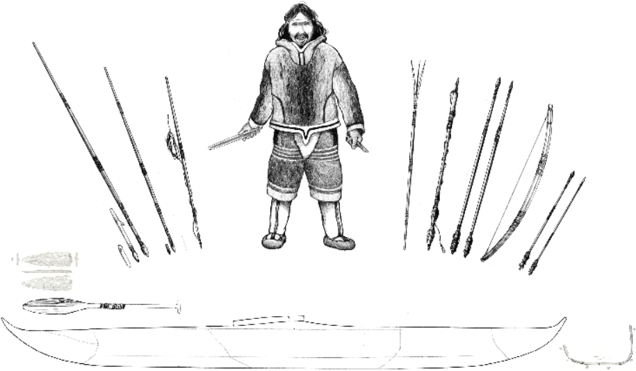 A Saqqaq hunter with his hunting toolkit. This schematic reconstruction is based on the archaeological analyses in the present article. To the left of the hunter, a heavy lance and a light lance with different kinds of heads are shown as well as a toggling harpoon for seal hunting through breathing holes. In his hands the hunter holds an atlatl and a knife. To the right, one sees a three-pronged bird spear, a harpoon for open-water sealing, two kinds of light darts, a reinforced bow, and two calibers of arrows. Below, finds from Qeqertasussuk—a fragment of a paddle and a frame—suggest that the Saqqaq hunter possessed kayak-like vessels (drawing: Nuka K. Godtfredsen, National Museum of Denmark)