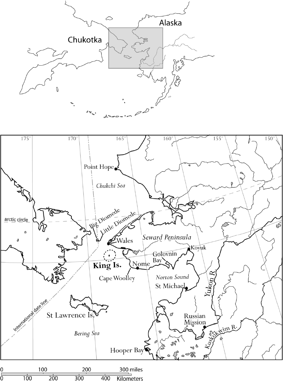 Map of the Bering Strait region, Alaska, with locations mentioned in the text