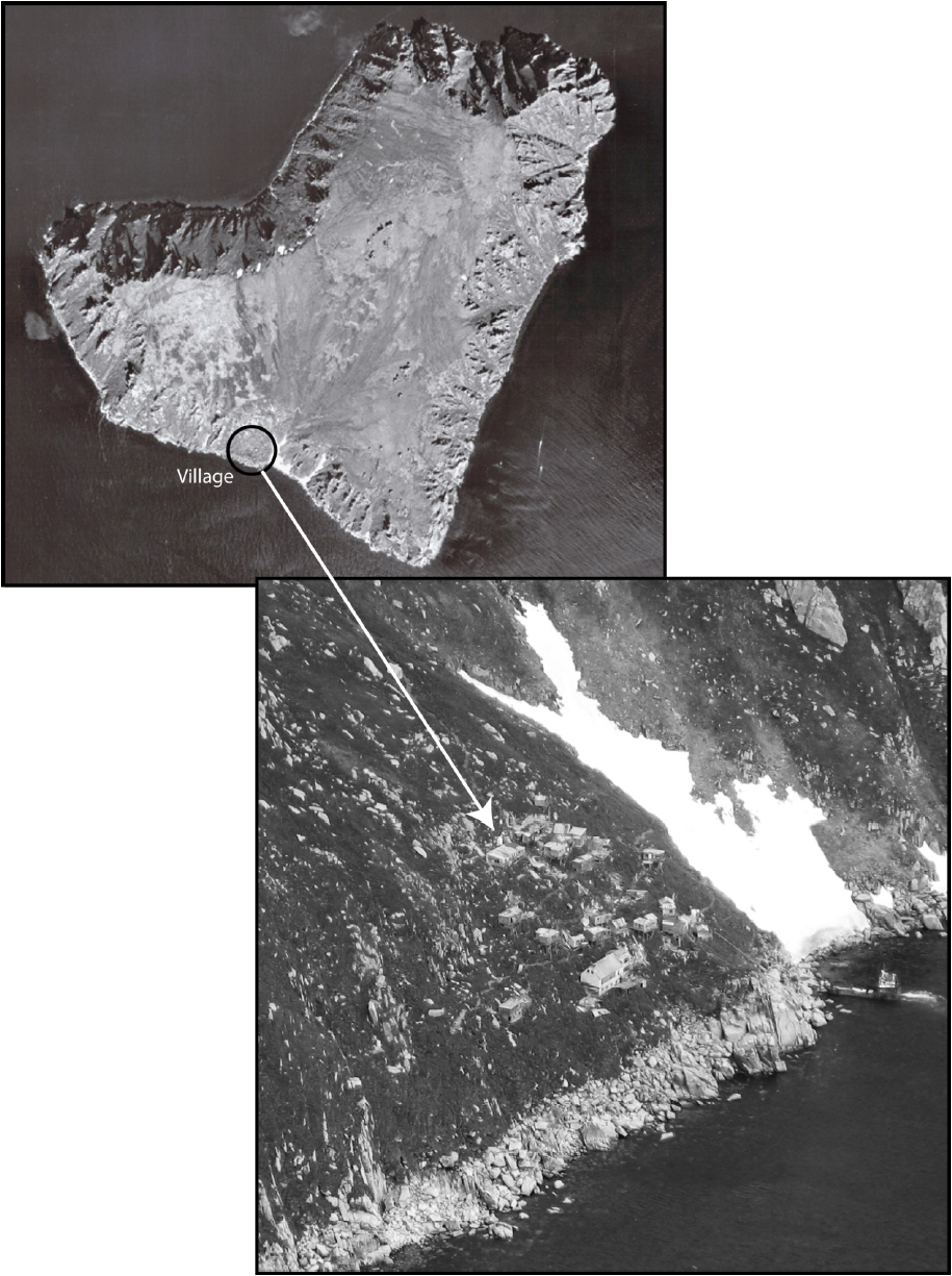 Aerial photo of King Island (courtesy of U.S. Geological Survey) and view of the village from the helicopter in June 2005
