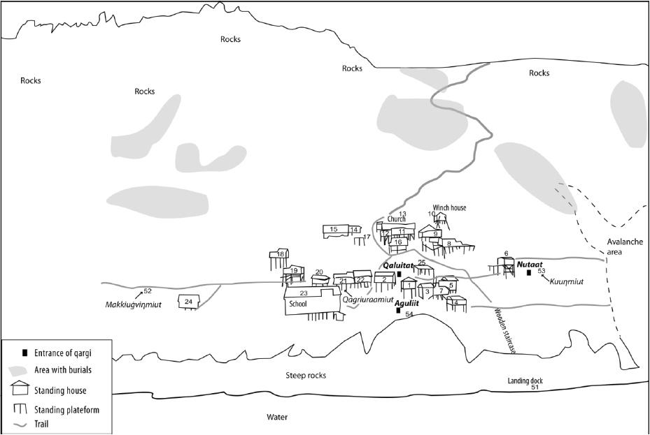 Map of the village with locations of qagrit (names in italics) sketched from a photo by Matt Ganley (Vice President of Land and Resources at the Bering Straits Native Corporation and Co-Principal Investigator for the project). The houses were randomly numbered for structural assessment by Matt Ganley and the King Island Community. Bold italics indicate qagrit last in use