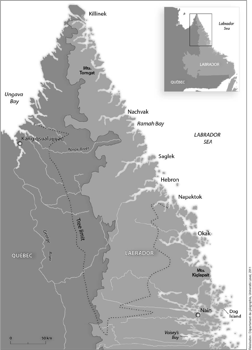 Map of the regions of the central and northern Labrador coast