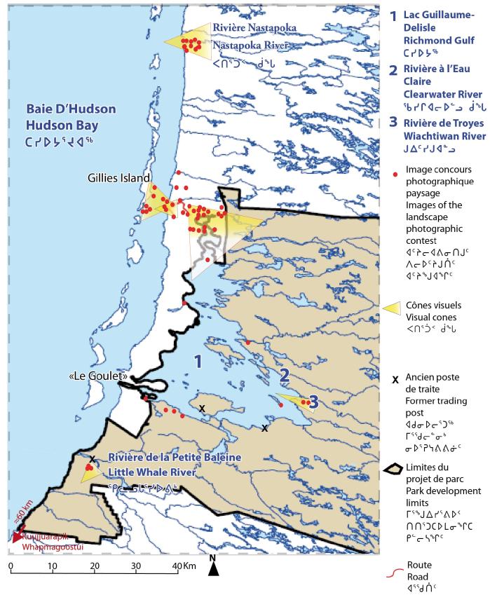 Carte Localisant Les Clichs Des Habitants DUmiujaq Montrant La Slection Sites Paysagers Lintrieur Ou Lextrieur Du Primtre Parc National