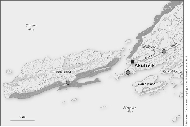 Map of Akulivik and surrounding area. Grey dots: best places for gathering shrubs; shaded areas: best places for gathering driftwood.