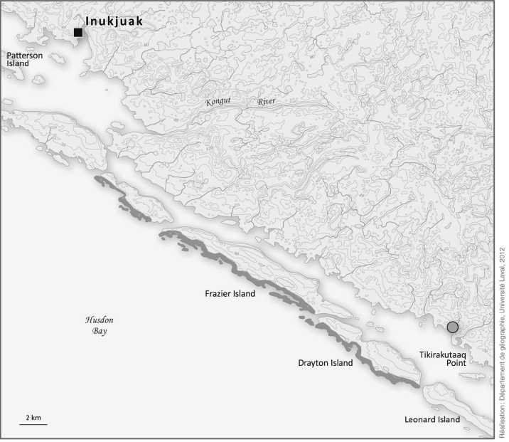 Map of Inukjuak and surrounding area. Grey dots: best places for gathering shrubs; shaded areas: best driftwood accumulation sites and gathering points.