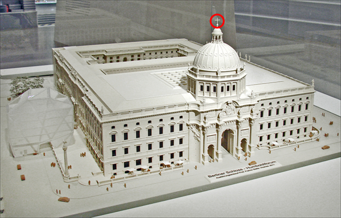 Model of the reconstructed Prussian City Palace (including the cross on its cupola) by Franco Stella, winner of the architectural competition, 2008