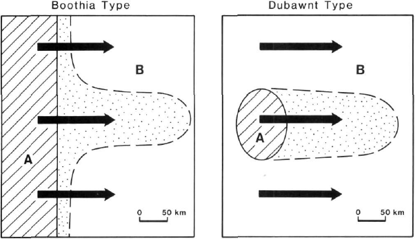 Two types of large dispersal trains formed by the Late Wisconsinan Laurentide Ice Sheet. The Dubawnt Type formed under normal regional flow, the Boothia Type formed by an ice stream. Areas A and B on figures are different bedrock types, arrow indicate ice flow and dotted areas indicate zone of dispersal of rock type A.