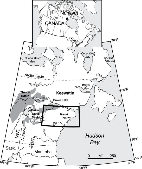 Location map of study area in central Nunavut. The distribution of Thelon Basin and Baker Lake Basin rocks of the Dubawnt Supergroup are shown in dark grey (from Paul et al., 2002).