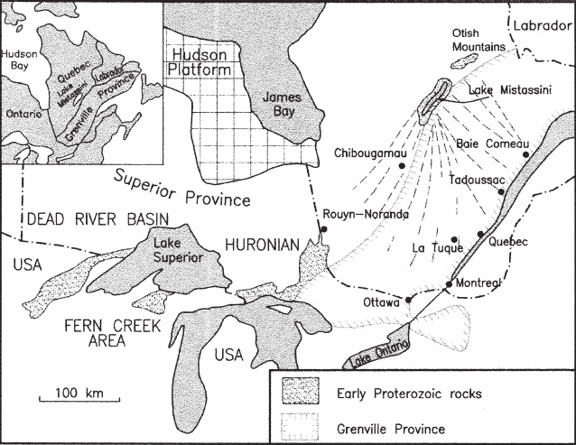 Location of the Lake Mistassini Proterozoic rocks in relation to other areas of Early Proterozoic rocks (Dead River basin, Fern Creek and Huronian areas) found along the southern edge of the Superior craton (adapted from Young, 1970). The southward dispersal area of Mistassini erratics (dashed lines) covers about half of the Grenville Province in Québec.